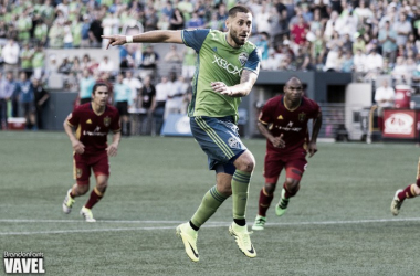 Clint Dempsey, shown here taking a penalty against Real Salt Lake, will miss the Seattle Sounders game against the Portland Timber | Source: Brandon Farris - VAVEL USA