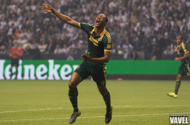Portland Timbers forward Fanendo Adi celebrating his goal against the Vancouver Whitecaps FC on Sunday at BC Place. Portland went on to win the game 2-0 and advanced to the Western Conference Finals. Photo provided by Brandon Farris- VAVEL USA.