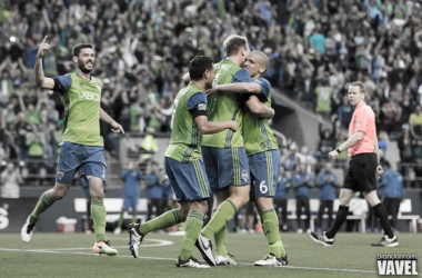 Seattle celebrate the first of two goals Image Courtesy of Brandon Farris- VAVEL USA
