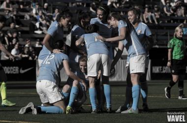 Sky Blue FC celebrate their second goal   Photo: Brandon Farris - VAVEL USA
