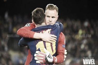 Leo Messi y Marc-André ter Stegen en un partido de UEFA Champions League | Foto de Noelia Déniz, VAVEL