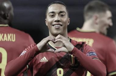 Celebración de gol en la primera jornada. Fuente: Bélgica twitter