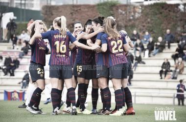 Celebración de un gol en la Ciutat Esportiva Joan Gamper | Foto de Noelia Déniz, VAVEL
