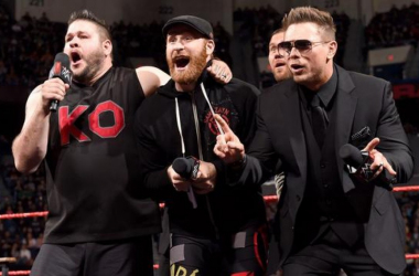 TRADED. Best friends Kevin Owens and Sami Zayn appear on MizTV moments before The Miz (right) learns he got traded to SmackDown Live. | Photo from WWE.com