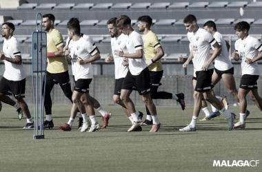 El Málaga CF en el entrenamiento del lunes // Foto: Málaga CF