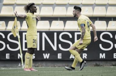 "<p class=""MsoNormal"">Haissem y Millan celebran el gol / Foto: Villarreal C.F&nbsp;<o:p></o:p></p>"