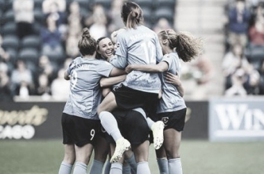 Samantha Kerr scored for the Red Stars in the 7th and 44th minutes. Photo: www.twitter.com/ChiRedStarsPR