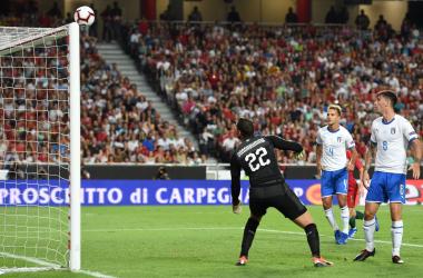 La traversa colta dal Portogallo nel primo tempo. | @UEFAEURO, Twitter.
