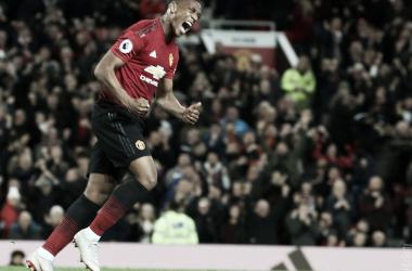 Martial fez o segundo, dos três gols do Manchester United na vitória desse sábado (Reprodução/ Manchester United)