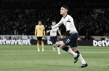 Lamela comemora seu oitavo gol em 12 jogos. (Foto: Reprodução/<span>Tottenham</span>)