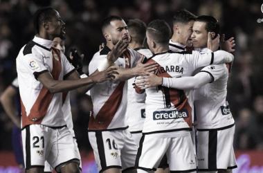 Celebración de uno de los goles de Raúl de Tomás   Fotografía: Rayo Vallecano S.A.D.