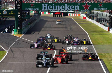 Start of the Formula 1 Japanese Grand Prix, one of 22 races teams have to travel to in 2020 (Photo credit: Mark Thompson, Getty images)