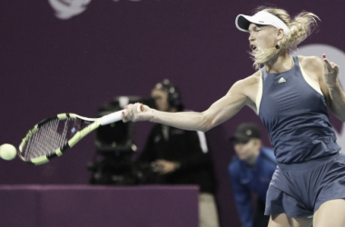 Wozniacki, en acción ante Kerber | Foto: WTA
