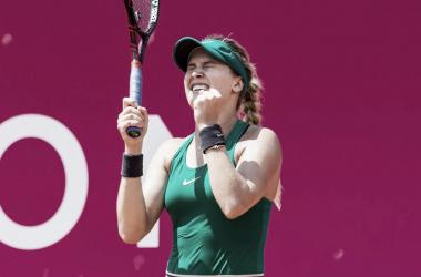 Bouchard festeja el éxito | Foto: WTA