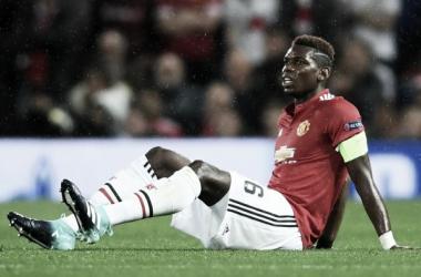 Pogba al momento dell'infortunio nel match contro il Basilea. | manutd.com