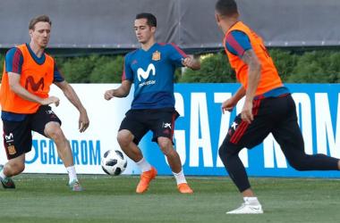 Uno scatto da un allenamento recente della Spagna.   @SeFutbol, Twitter.