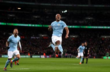 L'esultanza rabbiosa di Vincent Kompany dopo il suo gol odierno. | Manchester City, Twitter.