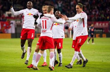 L'esultanza dei Roten Bullen dopo il loro secondo gol, siglato da Werner, nella sfida contro il Bayern. | Germany, Twitter.