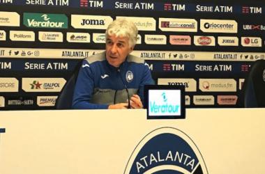 Gian Piero Gasperini durante la conferenza di oggi. | atalanta.it