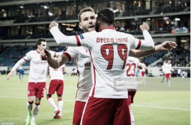 Dyego Sousa festeja o segundo golo do SC Braga.