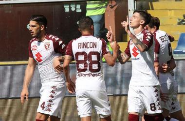 I calciatori del Torino hanno festeggiato così il gol del parziale 0-2 odierno. | Torino Football Club, Twitter.
