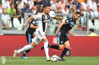 Cristiano Ronaldo in azione durante la sfida di oggi. | @juventusfc, Twitter.
