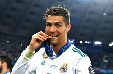 Cristiano Ronaldo dopo la vittoria della sua quinta Champions in carriera, ieri sera.   @ChampionsLeague, Twitter.