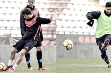 Ernesto Galán y Javi Guerra en un entrenamiento. Fotografía: Rayo Vallecano S.A.D