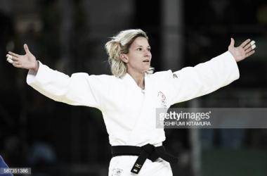 Telma Monteiro conquista a medalha de bronze no judo.