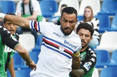 Quagliarella e Sensi durante la sfida di oggi. | U.C. Sampdoria, Twitter.