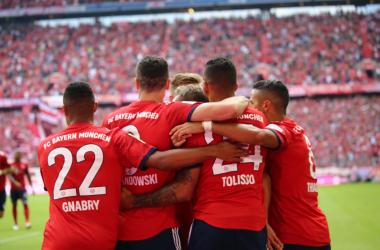 Una delle tre esultanza odierne del Bayern. | @FCBayern, Twitter.