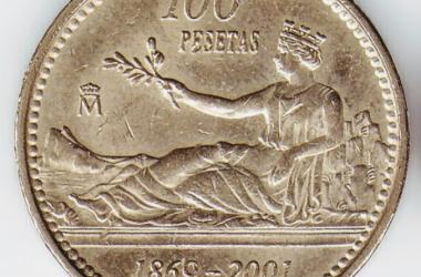 Alegoría de Hispania en una moneda de 100 pesetas (réplica conmemorativa de 2001). (PD)