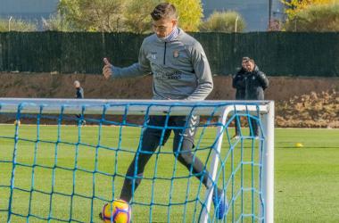Rubén Alcaraz en el entrenamiento de hoy / Real Valladolid