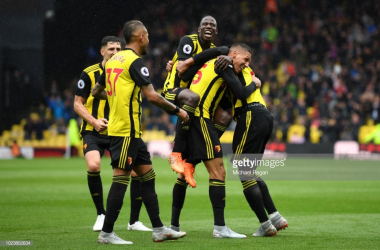 The Watford players celebrate Holebas' goal to put the Hornets 2-0 up