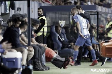 Keidi Bare tras la expulsión. | Foto: Málaga CF