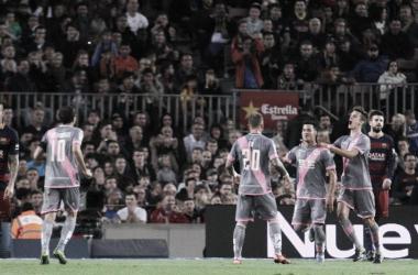 El Rayo Vallecano celebra un gol conseguido en el último Barça-Rayo | Fotografía: Rayo Vallecano