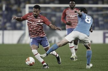 Yangel Herrera durante el último partido de Europa League. Foto: Pepe Villoslada / Granada CF