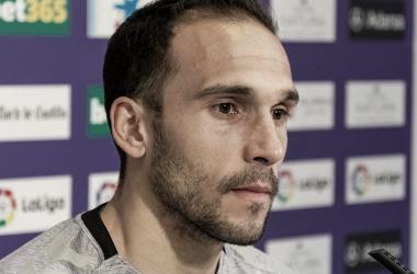 Nacho en la rueda de prensa de hoy // FUENTE: Real Valladolid C.F.