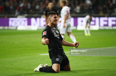 Luka Jović celebrating one of his five goals. | Photo: Alex Grimm/Bongarts/Getty Images.