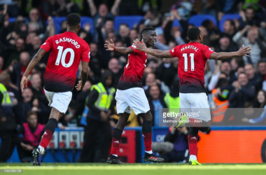 United celebrate against Chelsea | Photo via Matthew Ashton / Getty Images