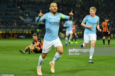 David Silva wheels away in celebration after scoring the winner. Source: Getty Images