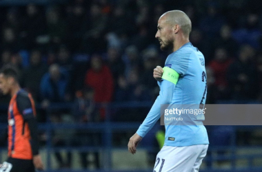 David Silva celebrating after scoring Manchester City's first goal of the night