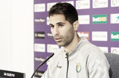 Javi Moyano en rueda de prensa // FUENTE: Real Valladolid