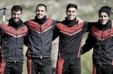 Los jugadores del primer equipo en el entrenamiento. Foto Rayo Vallecano S.A.D