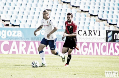Pombo, autor del gol del filial, en un partido de la temporada pasada (Foto: Andrea Royo | VAVEL).