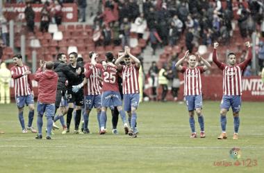 El Sporting celebraba una agónica victoria en casa frente al Albacete. FOTO: LaLiga123