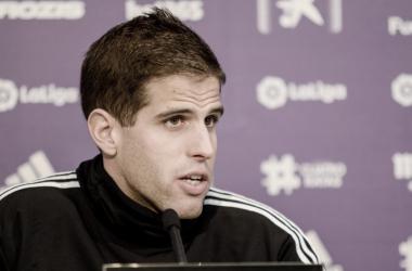 Pablo Hervías en rueda de prensa // Foto: Real Valladolid