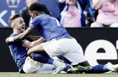 James Maddison y Gray celebrando el tanto de la remontada / Fuente: Premier League