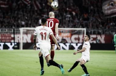 El Sevilla hizo un partido serio en defensa. Foto: Bayern Múnich.