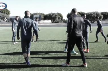 Jugadores en la sesión. Fotografía:Rayo Majadahonda